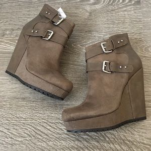 Khaki Taupe Multi Strap Buckle Wedge Booties